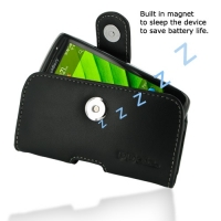 Leather Horizontal Pouch Case with Belt Clip for BlackBerry Torch 9850 9860 (Black)