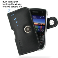 Leather Horizontal Pouch Case with Belt Clip for BlackBerry Tour 9630 (Black)