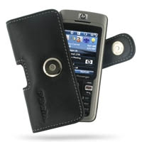Leather Horizontal Pouch Case with Belt Clip for HP iPAQ 500 Voice Messenger Series (Black)