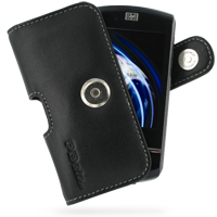 Leather Horizontal Pouch Case with Belt Clip for HP iPAQ Data Messenger (Black)
