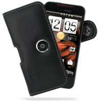 Leather Horizontal Pouch Case with Belt Clip for HTC Droid Incredible ADR6300 (Black)
