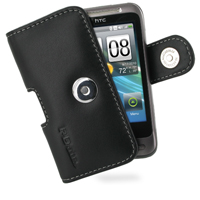 HTC Freestyle Leather Holster Case (Black) PDair Premium Hadmade Genuine Leather Protective Case Sleeve Wallet