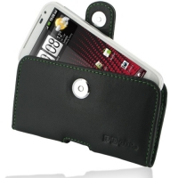 Leather Horizontal Pouch Case with Belt Clip for HTC Sensation XL X315e (Green Stitch)