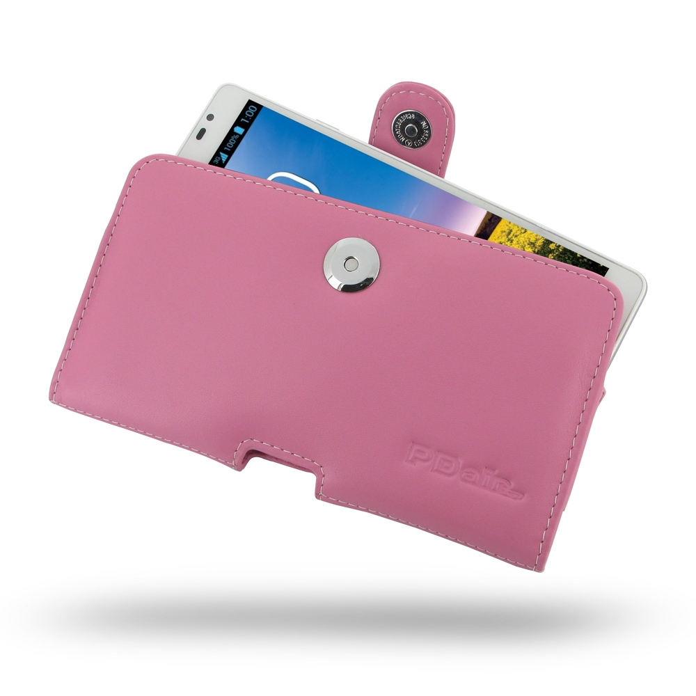 Huawei Ascend Mate Leather Holster Case (Petal Pink) PDair Premium Hadmade Genuine Leather Protective Case Sleeve Wallet