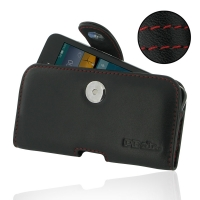 Leather Horizontal Pouch Case with Belt Clip for Huawei Ascend Y560 (Red Stitch)
