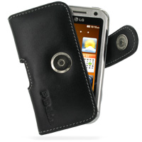 Leather Horizontal Pouch Case with Belt Clip for LG Arena KM900 (Black)