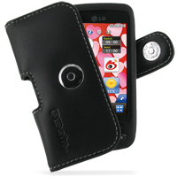 Leather Horizontal Pouch Case with Belt Clip for LG Cookie Plus GS500v (Black)