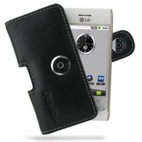Leather Horizontal Pouch Case with Belt Clip for LG GT540 (Black)