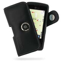 LG GW520 Leather Holster Case (Black) PDair Premium Hadmade Genuine Leather Protective Case Sleeve Wallet