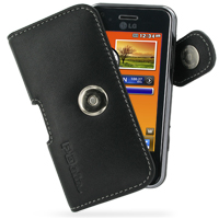 Leather Horizontal Pouch Case with Belt Clip for LG KC910 Renoir (Black)