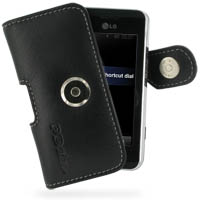 Leather Horizontal Pouch Case with Belt Clip for LG KF690 KF700 (Black)