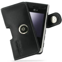 Leather Horizontal Pouch Case with Belt Clip for LG KF750 Secret (Black)