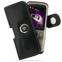 Leather Horizontal Pouch Case with Belt Clip for LG KM330 (Black)