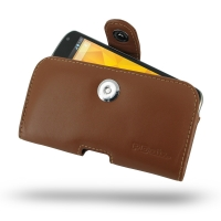 Nexus 4 Leather Holster Case (Brown) PDair Premium Hadmade Genuine Leather Protective Case Sleeve Wallet