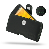 Nexus 4 Leather Holster Case (Green Stitch) PDair Premium Hadmade Genuine Leather Protective Case Sleeve Wallet