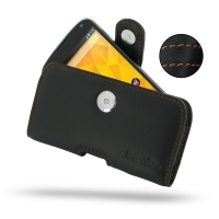 Nexus 4 Leather Holster Case (Orange Stitch) PDair Premium Hadmade Genuine Leather Protective Case Sleeve Wallet