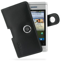 Motorola DEVOUR A555 Leather Holster Case (Black) PDair Premium Hadmade Genuine Leather Protective Case Sleeve Wallet