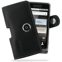 Motorola Milestone 2 / DROID 2 Leather Holster Case (Black) PDair Premium Hadmade Genuine Leather Protective Case Sleeve Wallet