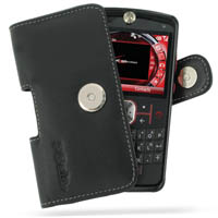Motorola Q9m Q9c Leather Holster Case (Black) PDair Premium Hadmade Genuine Leather Protective Case Sleeve Wallet