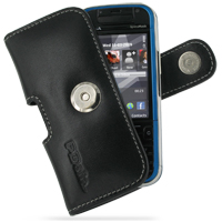 Nokia 5730 XpressMusic Leather Holster Case (Black) PDair Premium Hadmade Genuine Leather Protective Case Sleeve Wallet