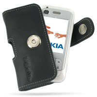 Nokia 6110 Navigator Leather Holster Case (Black) PDair Premium Hadmade Genuine Leather Protective Case Sleeve Wallet