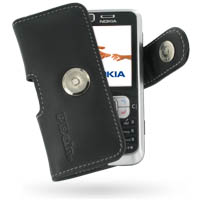 Nokia 6120 Leather Holster Case (Black) PDair Premium Hadmade Genuine Leather Protective Case Sleeve Wallet