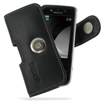 Nokia 6260 Slide Leather Holster Case (Black) PDair Premium Hadmade Genuine Leather Protective Case Sleeve Wallet