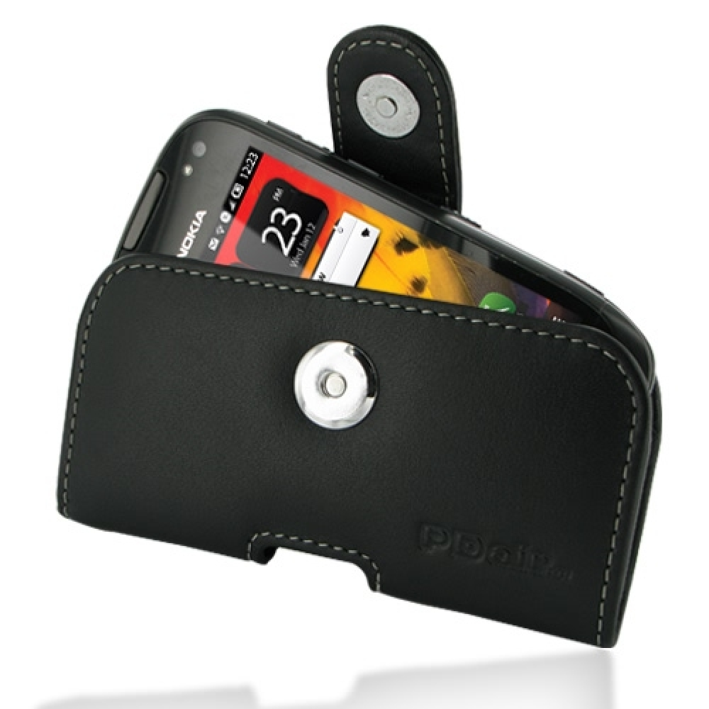 official photos ac587 5c16c Leather Horizontal Pouch Case with Belt Clip for Nokia 701 (Black)