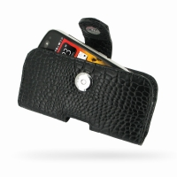 Nokia 808 PureView Leather Holster Case (Black Croc Pattern) PDair Premium Hadmade Genuine Leather Protective Case Sleeve Wallet