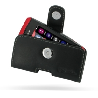 Nokia Asha 305 306 Leather Holster Case (Black) PDair Premium Hadmade Genuine Leather Protective Case Sleeve Wallet