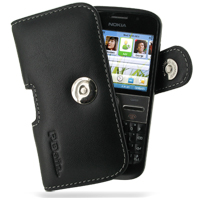 Nokia E5 Leather Holster Case (Black) PDair Premium Hadmade Genuine Leather Protective Case Sleeve Wallet