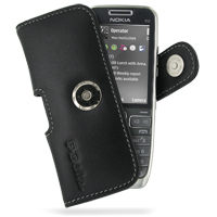 Nokia E52 Leather Holster Case (Black) PDair Premium Hadmade Genuine Leather Protective Case Sleeve Wallet