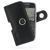 Nokia E72 Leather Holster Case (Black) PDair Premium Hadmade Genuine Leather Protective Case Sleeve Wallet