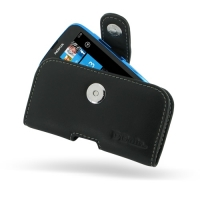 Nokia Lumia 610 Leather Holster Case (Black) PDair Premium Hadmade Genuine Leather Protective Case Sleeve Wallet