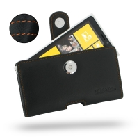 Nokia Lumia 920 Leather Holster Case (Orange Stitch) PDair Premium Hadmade Genuine Leather Protective Case Sleeve Wallet