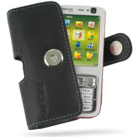 Nokia N73 Leather Holster Case (Black) PDair Premium Hadmade Genuine Leather Protective Case Sleeve Wallet