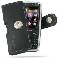 Nokia N77 Leather Holster Case (Black) PDair Premium Hadmade Genuine Leather Protective Case Sleeve Wallet