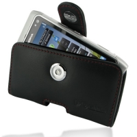 Nokia N8 Leather Holster Case (Red Stitch) PDair Premium Hadmade Genuine Leather Protective Case Sleeve Wallet