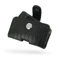 Leather Horizontal Pouch Case with Belt Clip for Nokia N900 (Black Crocodile Pattern)