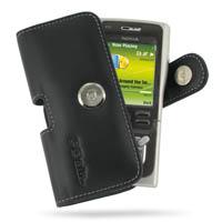Nokia N91 Leather Holster Case (Black) PDair Premium Hadmade Genuine Leather Protective Case Sleeve Wallet