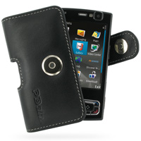 Nokia N95 8GB Leather Holster Case (Black) PDair Premium Hadmade Genuine Leather Protective Case Sleeve Wallet