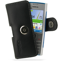 Nokia X2 Leather Holster Case (Black) PDair Premium Hadmade Genuine Leather Protective Case Sleeve Wallet