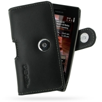 Nokia X7-00 Leather Holster Case (Black) PDair Premium Hadmade Genuine Leather Protective Case Sleeve Wallet