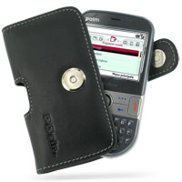 Leather Horizontal Pouch Case with Belt Clip for Palm Treo 500v (Black)