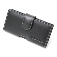 Panasonic Eluga Leather Holster Case (Black) PDair Premium Hadmade Genuine Leather Protective Case Sleeve Wallet