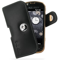 Leather Horizontal Pouch Case with Belt Clip for Samsung B7620 Giorgio Armani (Black)
