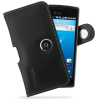 Leather Horizontal Pouch Case with Belt Clip for Samsung Captivate Galaxy S SGH-i897 (Black)