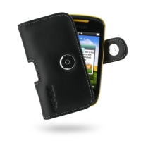 Leather Horizontal Pouch Case with Belt Clip for Samsung Corby II S3850 (Black)