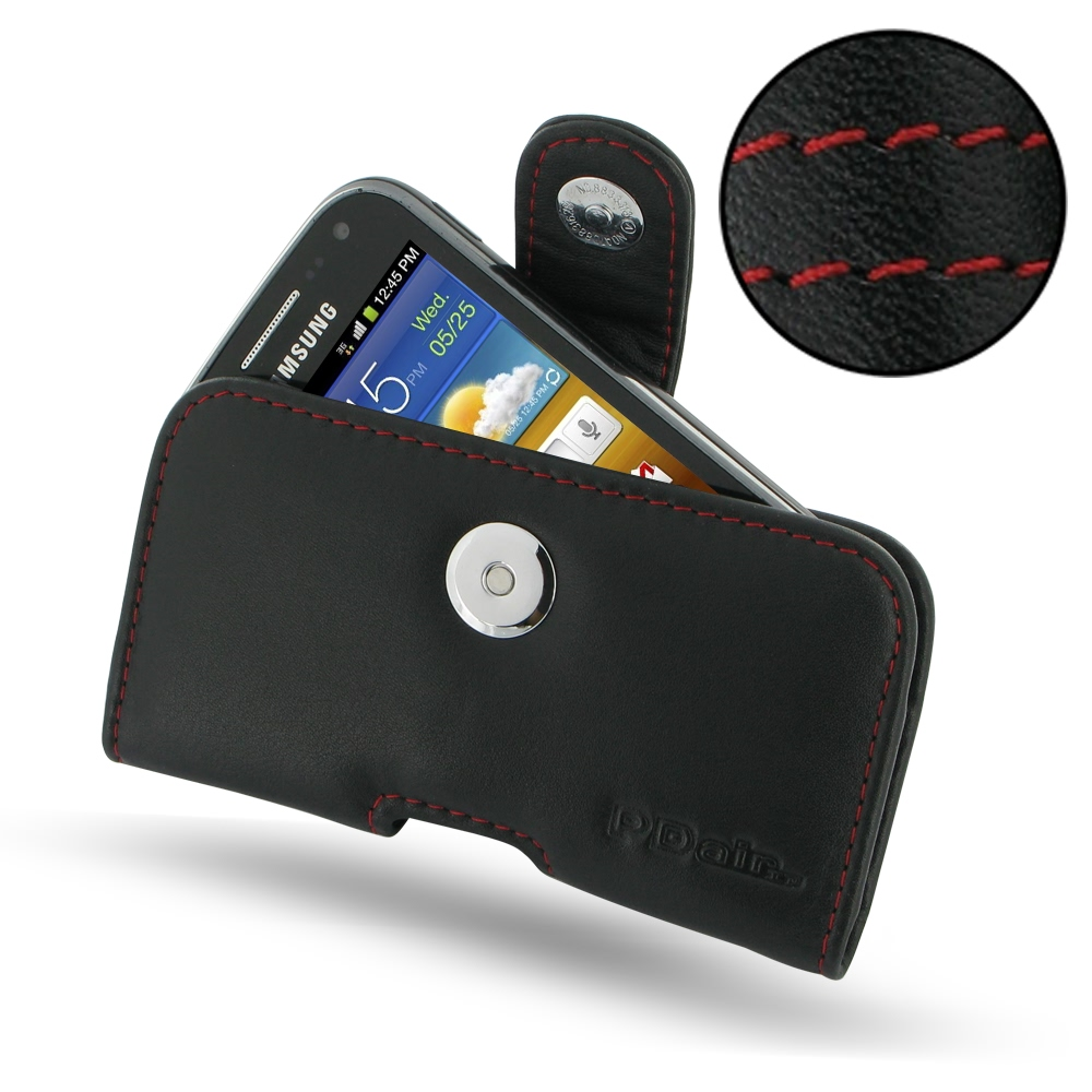 Samsung Galaxy Ace 2 Leather Holster Case Red Stitch