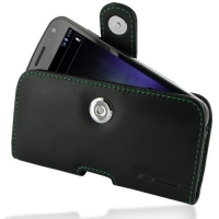 Leather Horizontal Pouch Case with Belt Clip for Samsung Galaxy Nexus GT-i9250 SCH-i515 (Green Stitch)
